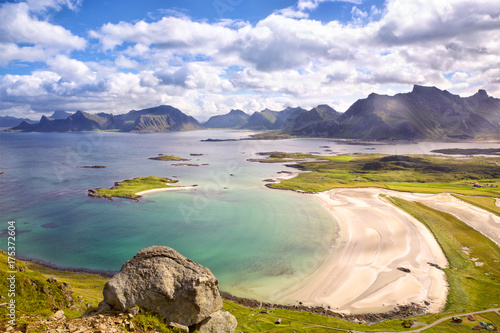 Stampa su Tela Lofoten Islands landscape with deach and mountains, Norway