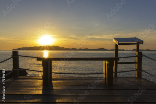 Beatiful sunrise on the mountain from veiw pointat. Khaolamya sea. Rayong province, Thailand