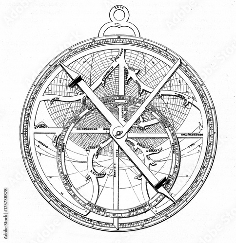 Astrolabe, designed by german astronomer Regiomontanus (from Spamers Illustriert Fototapet