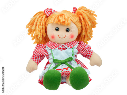 Smiling sit Cute rag doll isolated Fototapet