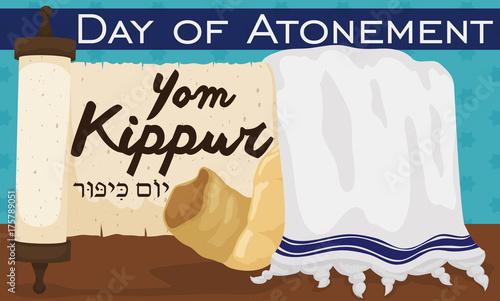 Photo Scroll, Tallit and Shofar Horn to Celebrate Jewish Yom Kippur, Vector Illustrati