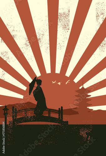 Valokuva Silhouette of geisha standing on the bridge at sunset