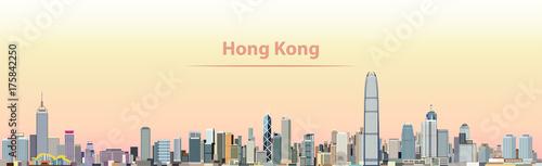 Fototapeta premium ilustracji wektorowych panoramę miasta Hongkong o wschodzie słońca
