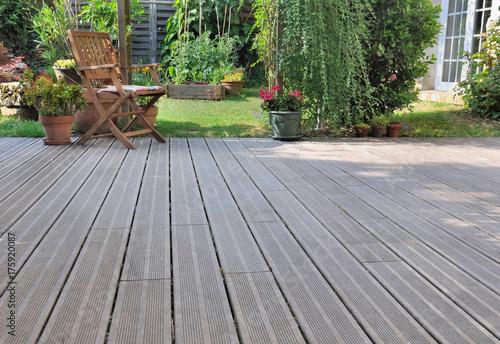 Wallpaper Mural wooden terrace in garden