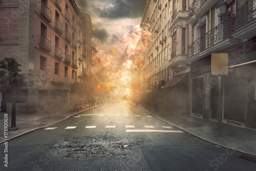 Wallpaper Mural View of destruction city with fires and explosion