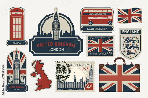 Stampa su Tela Vector set of British symbols, stamps, architectural landmarks and flag of the U