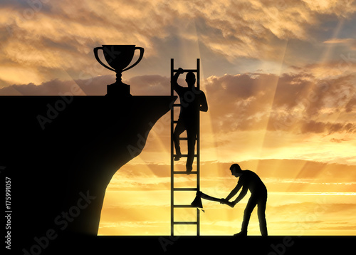 Slika na platnu Concept of business success and the envy of rival