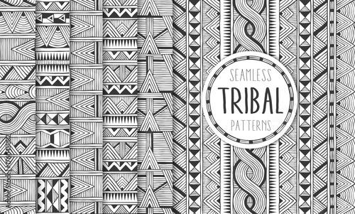 Obraz na plátně Set of six ethnic seamless patterns