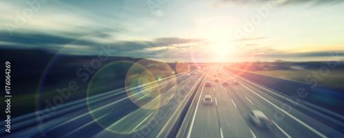 Obraz na plátně busy highway traffic at sunset time