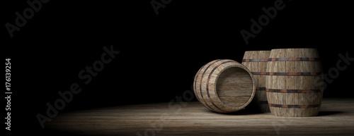 Fotografering Wooden barrels on dark background. 3d illustration