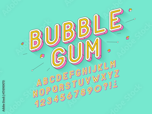 Wektor retro bańka guma odważne projektowanie czcionek, alfabet, krój, typografia