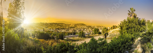 Fotografie, Obraz Panorama of Nazareth with Basilica of Annunciation - Israel at sunset