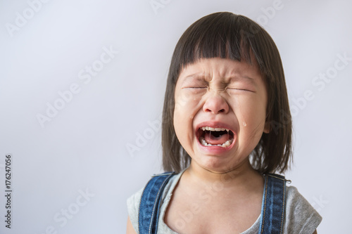 Obraz na płótnie Portrait of little asian crying girl little rolling tears weeping emotion hurt p