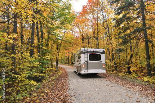 Slika na platnu roadtrip with motorhome in Indian summer Ontario Canada