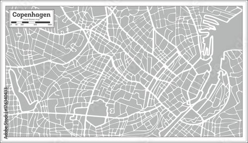 Obraz na plátně Copenhagen Map in Retro Style. Hand Drawn.