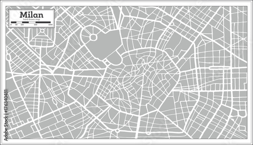 Photo Milan Map in Retro Style. Hand Drawn.