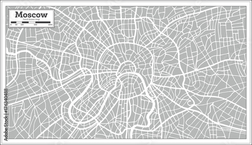 Obraz na plátně Moscow Map in Retro Style. Hand Drawn.