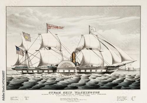 Canvas Print Old illustration of the steam ship Washington