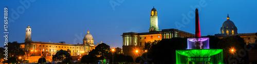 Delhi, India. Illuminated Rashtrapati Bhavan an Parliament building