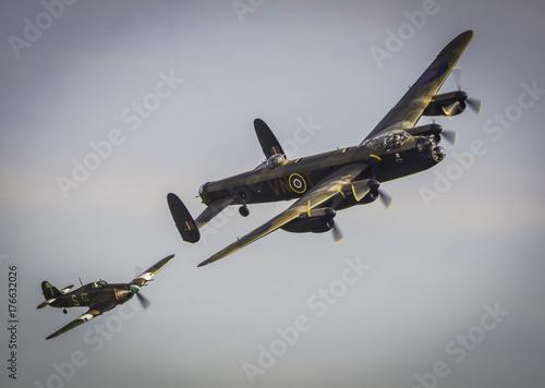 Obraz na płótnie Avro Lancaster B1 bomber with a Hurrican 11c