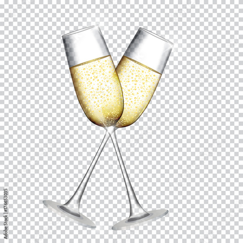 Photo Two Glass of Champagne Isolated on Transparent Background