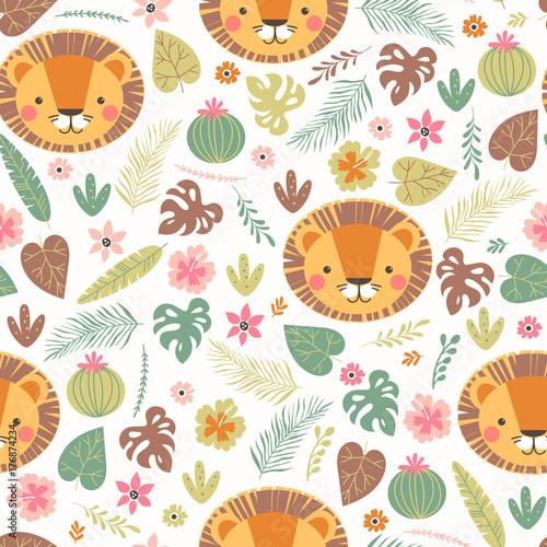 Cartoon seamless lion pattern