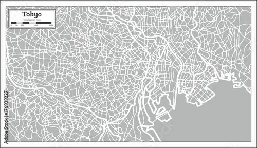 Obraz na plátně Tokyo Map in Retro Style. Hand Drawn.