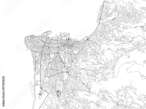 Fototapeta premium Ulice Bejrutu, mapa miasta, Liban. Mapa