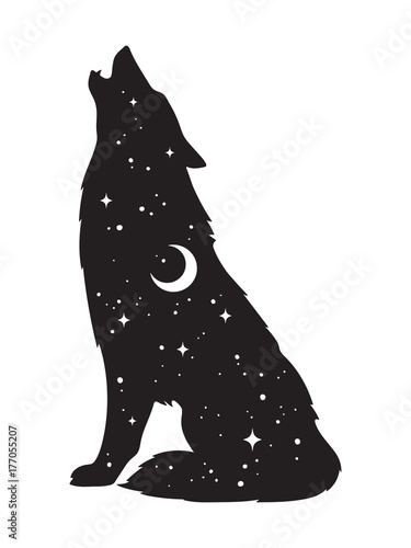 Silhouette of wolf with crescent moon and stars isolated. Sticker, black work, print or flash tattoo design vector illustration. Pagan totem, wiccan familiar spirit art