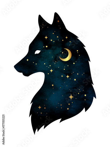 Sylwetka wilk z półksiężycem księżyc i gwiazdami odizolowywającymi. Ilustracja wektorowa projekt naklejki, druk lub tatuaż. Pagan totem, wiccańska duchowa sztuka