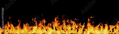 Obraz na płótnie Fire flames on black background.