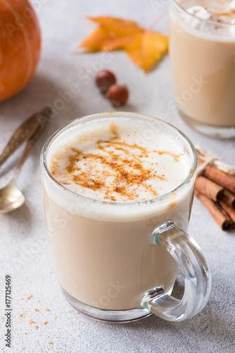 Pumpkin Spice Latte with Cinnamon. Autumn Hot Coffee Drink Poster Mural XXL
