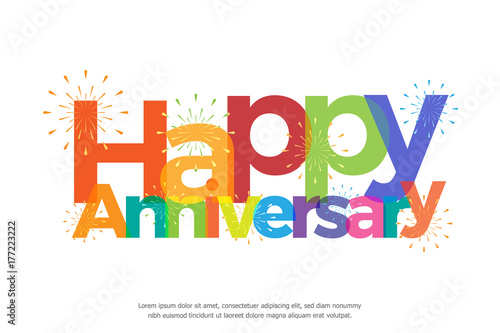 Canvas Print happy anniversary colorful with fireworks