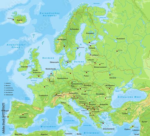 Photo Europakarte - mit Beschriftung (Länder & Städte)
