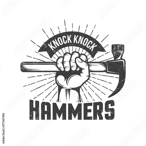 Photo Hand with hammer and knock knock words on white