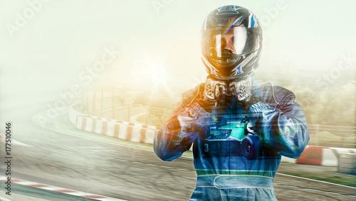 Obraz na plátně Kart crossing the finish line racer