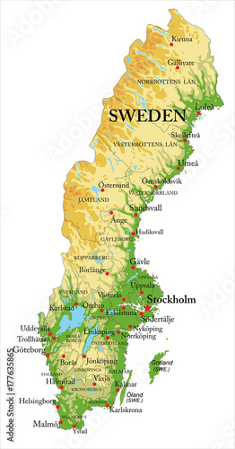 Photo Sweden relief map