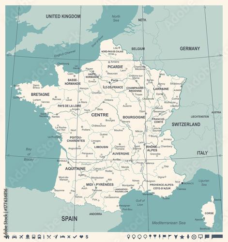 Obraz na płótnie France Map - Vintage Vector Illustration