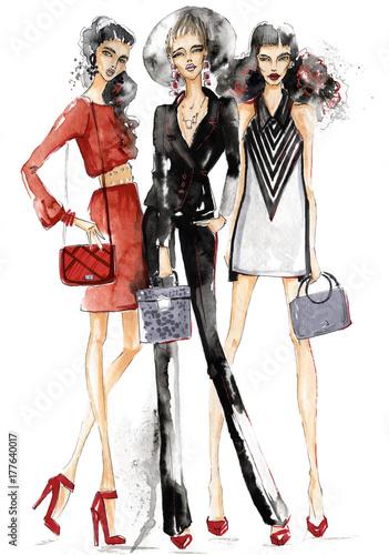 Three girls with handbags.