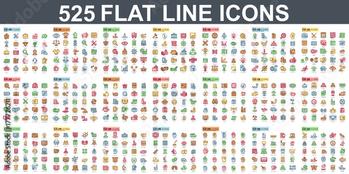 Simple set of vector flat line icons. Contains such Icons as Business, Marketing, Shopping, Banking, E-commerce, SEO, Technology, Medical, Education, Web Development, and more. Linear pictogram pack.