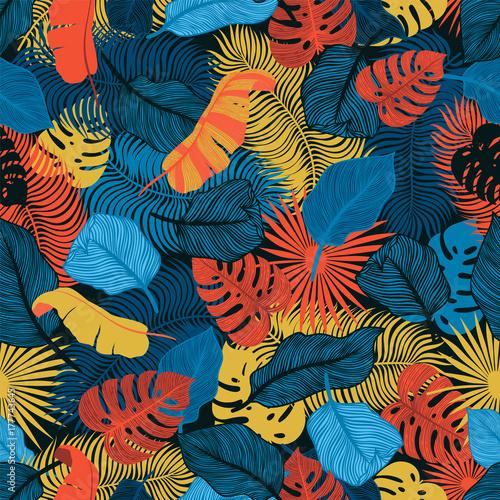 Tropikalny Bezszwowy Wzór Z Egzotycznymi Liściami Palm. Potwór, Palma, Liście Bananu. Egzotyczny Botaniczny Wzór Tekstylny. Letni Design W Dżungli. Hawajski Styl.