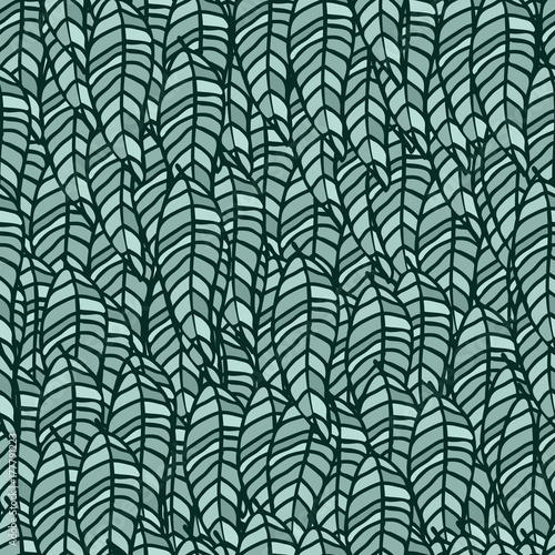 Liście Powtórzyć Wzór Zielony Kolor Tło Wektor. Całe Liście Zarysowują Czarny Graficzny Zielony Liść Małe Elementy Ręcznie Rysowane Ilustracji.