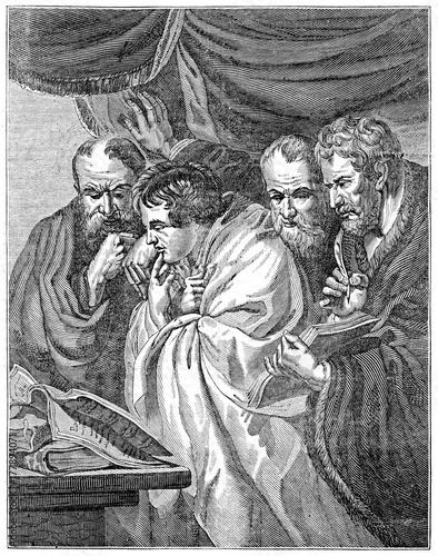 Fotografie, Obraz Old grayscale illustration