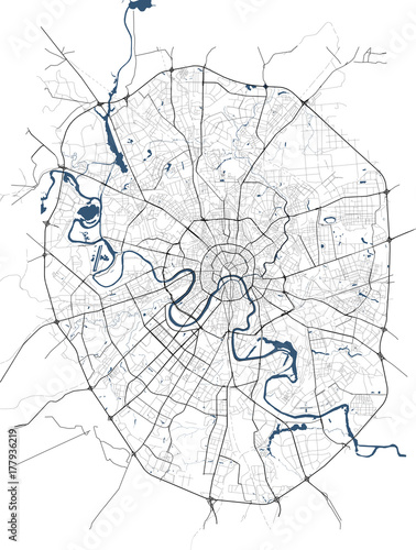 Fotografie, Obraz illustration map of the city of Moscow, Russia