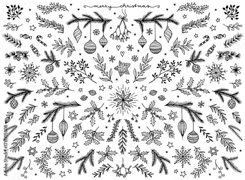 Carta da parati Hand sketched floral design elements for Christmas: pine tree branches, holly, m