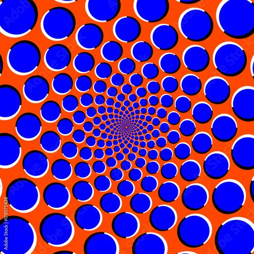 Blue circles on orange background optical illusion