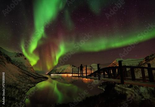 Canvas Print Lofoten Islands Northern Lights Aurora Borealis Norway