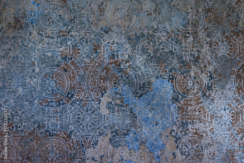 Fototapeta Details of the traditional antique tiles for facade of old house in Portugal or Italy