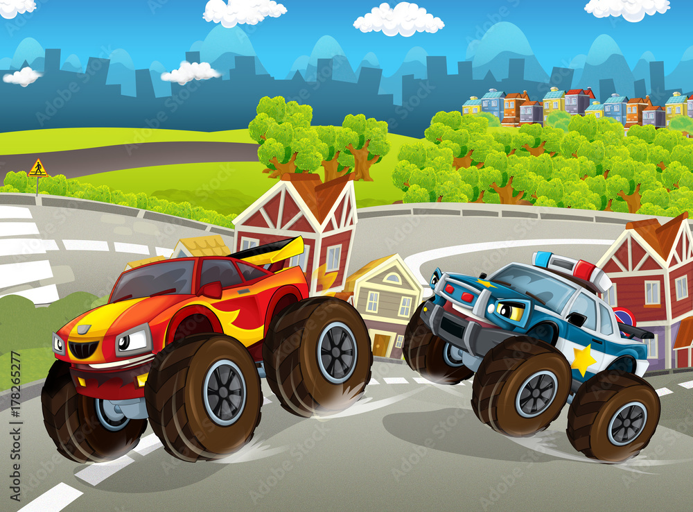 cartoon scene with urban vehicle - monster trucks - police and sports car - illustration for children