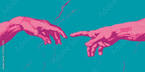 Canvas-taulu Michel Ange - main - création - concept - connexion - contact - communication -